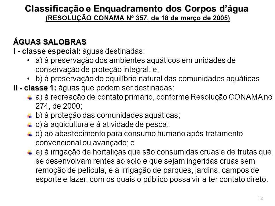 12 ÁGUAS SALOBRAS I - classe especial: águas destinadas: a) à preservação dos ambientes aquáticos em unidades de conservação de proteção integral; e,