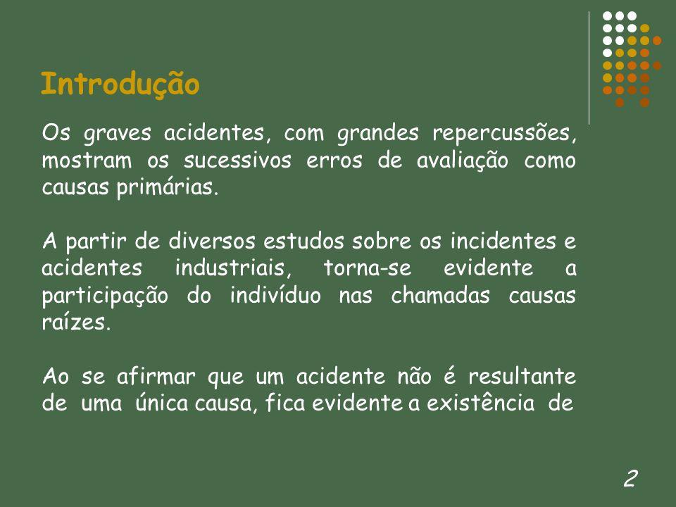2 Introdução Os graves acidentes, com grandes repercussões, mostram os sucessivos erros de avaliação como causas primárias. A partir de diversos estud