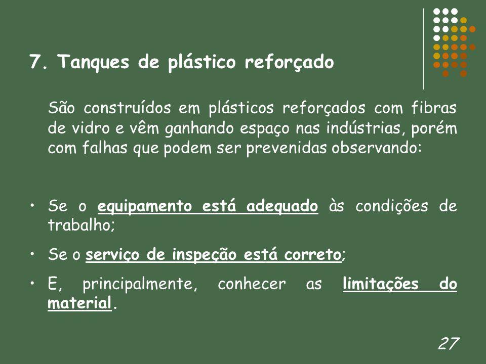 27 7. Tanques de plástico reforçado São construídos em plásticos reforçados com fibras de vidro e vêm ganhando espaço nas indústrias, porém com falhas