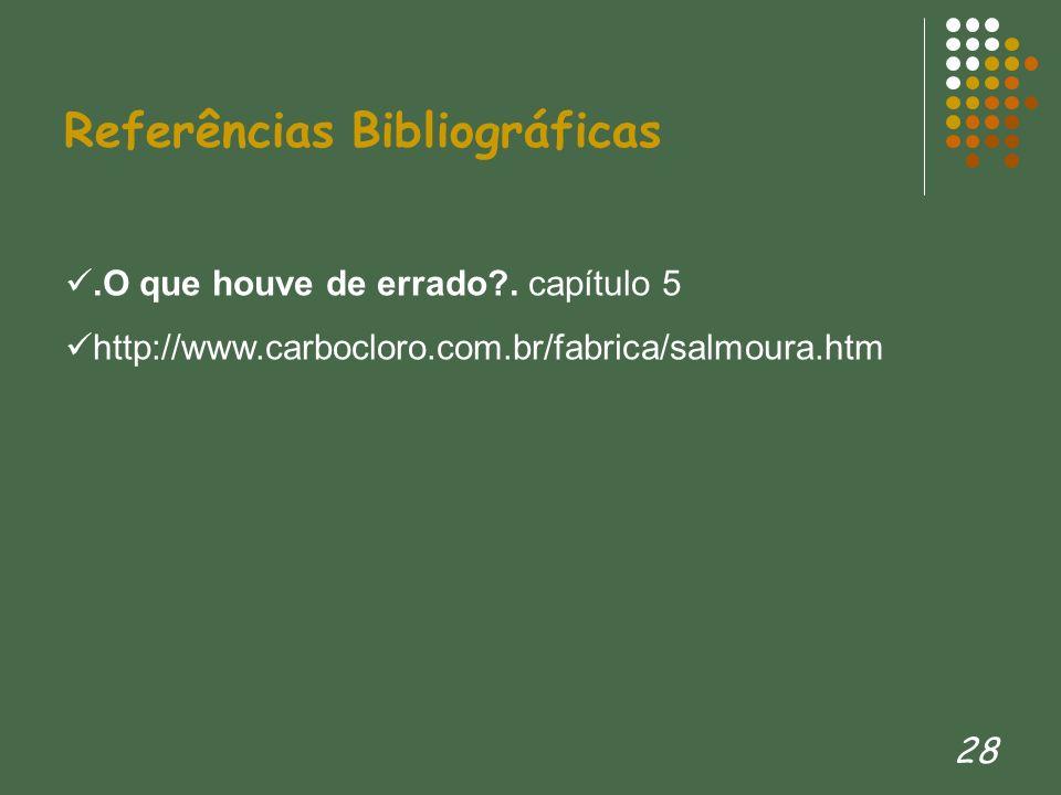 28 Referências Bibliográficas.O que houve de errado?. capítulo 5 http://www.carbocloro.com.br/fabrica/salmoura.htm