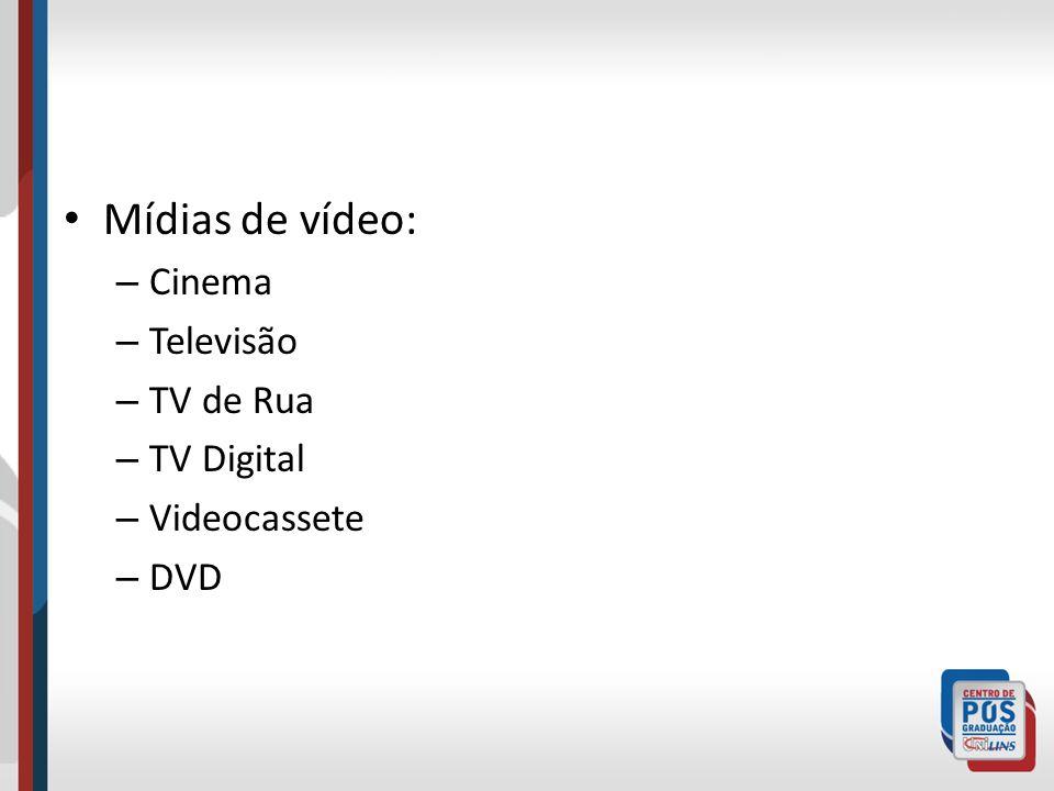 Mídias de vídeo: – Cinema – Televisão – TV de Rua – TV Digital – Videocassete – DVD
