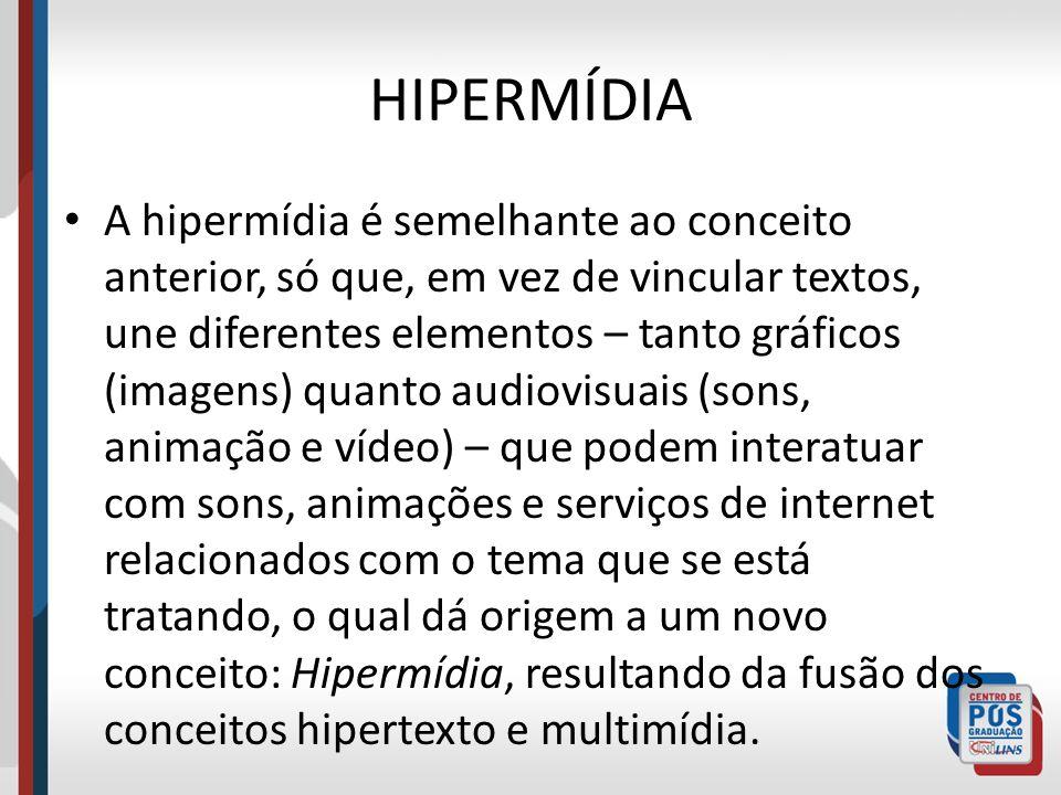HIPERMÍDIA A hipermídia é semelhante ao conceito anterior, só que, em vez de vincular textos, une diferentes elementos – tanto gráficos (imagens) quan