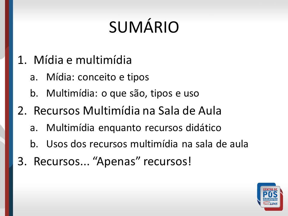 SUMÁRIO 1.Mídia e multimídia a.Mídia: conceito e tipos b.Multimídia: o que são, tipos e uso 2.Recursos Multimídia na Sala de Aula a.Multimídia enquant