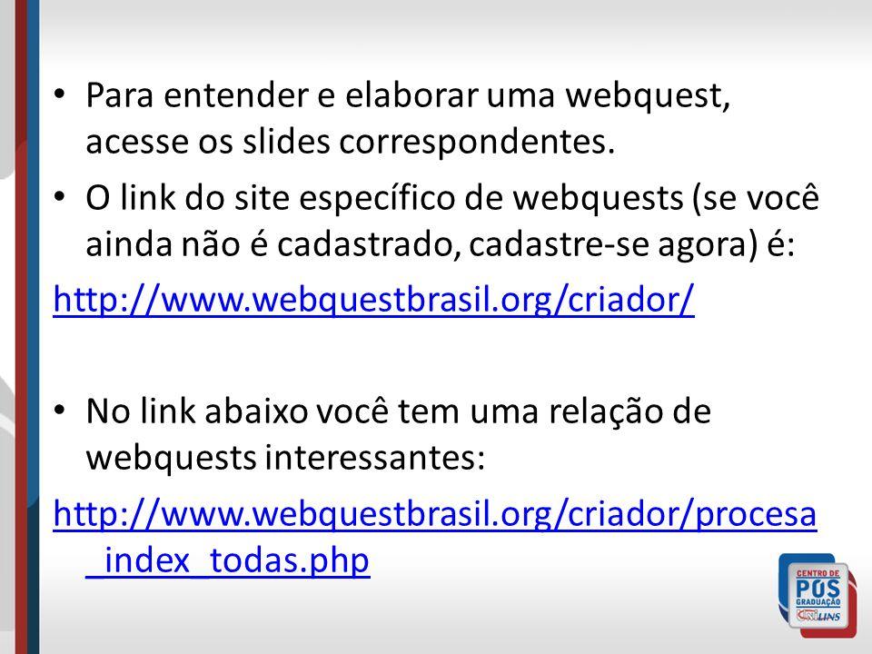 Para entender e elaborar uma webquest, acesse os slides correspondentes. O link do site específico de webquests (se você ainda não é cadastrado, cadas