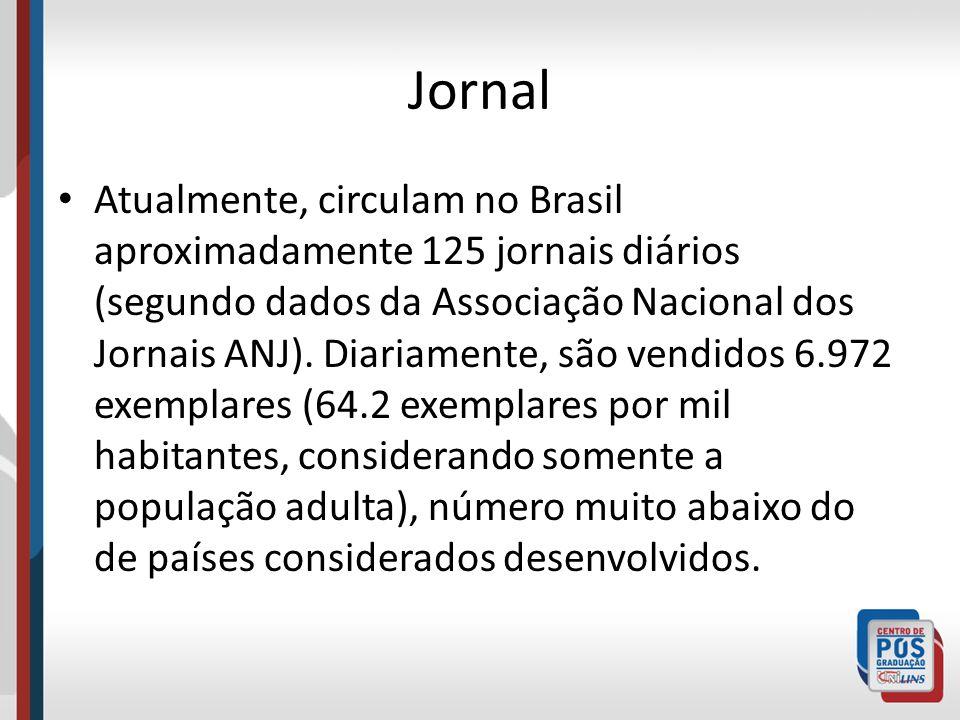 Jornal Atualmente, circulam no Brasil aproximadamente 125 jornais diários (segundo dados da Associação Nacional dos Jornais ANJ). Diariamente, são ven