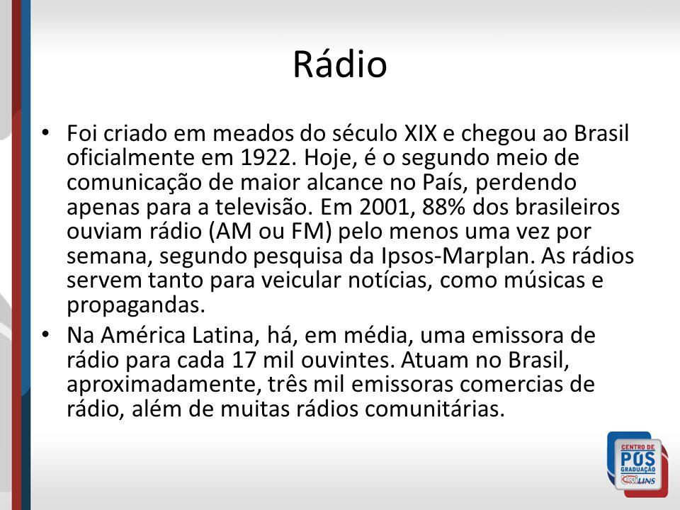 Rádio Foi criado em meados do século XIX e chegou ao Brasil oficialmente em 1922. Hoje, é o segundo meio de comunicação de maior alcance no País, perd