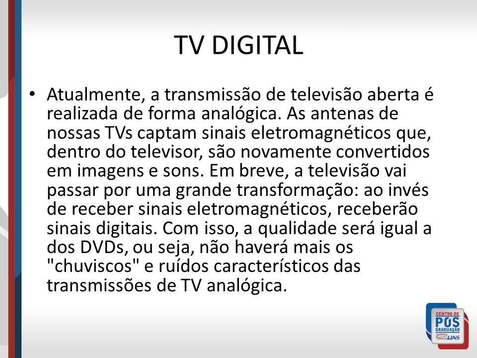 TV DIGITAL Atualmente, a transmissão de televisão aberta é realizada de forma analógica. As antenas de nossas TVs captam sinais eletromagnéticos que,
