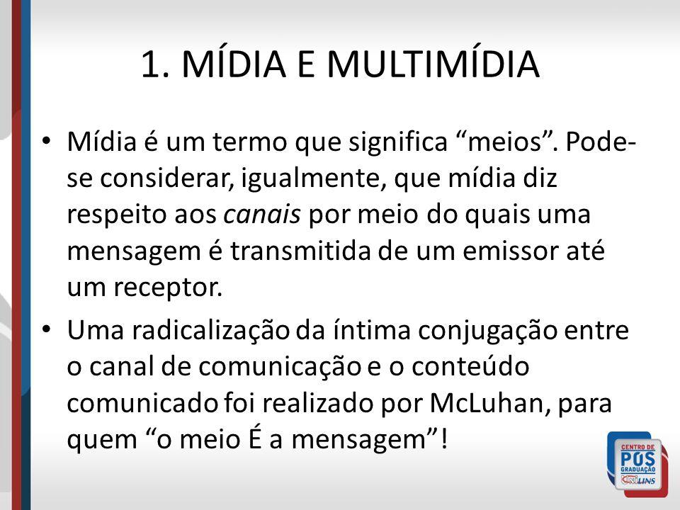 1. MÍDIA E MULTIMÍDIA Mídia é um termo que significa meios. Pode- se considerar, igualmente, que mídia diz respeito aos canais por meio do quais uma m