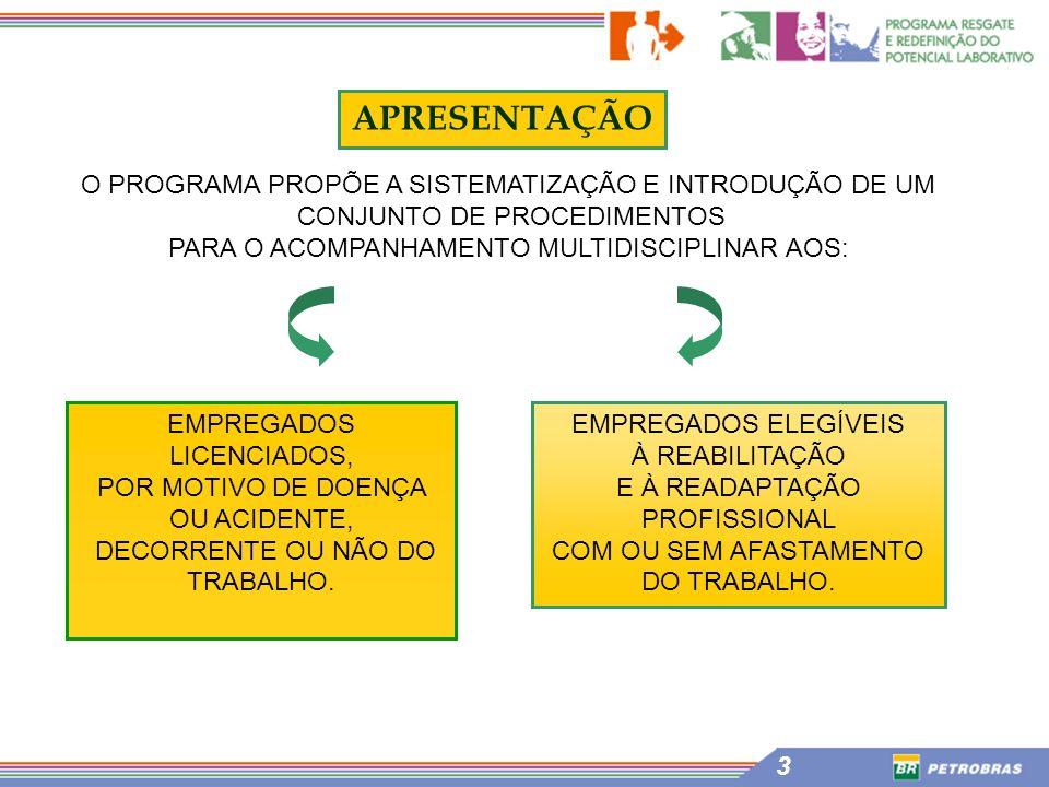 3 APRESENTAÇÃO O PROGRAMA PROPÕE A SISTEMATIZAÇÃO E INTRODUÇÃO DE UM CONJUNTO DE PROCEDIMENTOS PARA O ACOMPANHAMENTO MULTIDISCIPLINAR AOS: EMPREGADOS