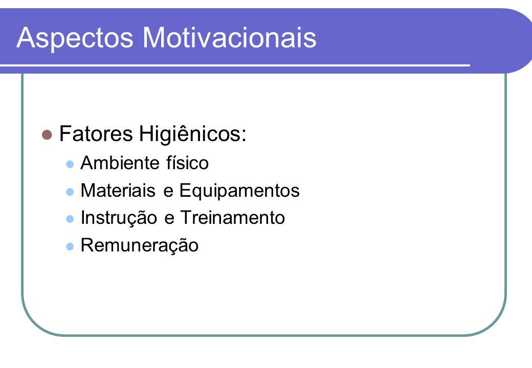 Aspectos Motivacionais Presente Fator Higiênico Fator Motivacional Ausente Desmotiva Não Motiva Motiva Não Desmotiva
