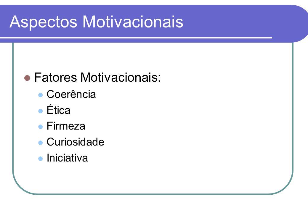 Aspectos Motivacionais Fatores Higiênicos: Ambiente físico Materiais e Equipamentos Instrução e Treinamento Remuneração