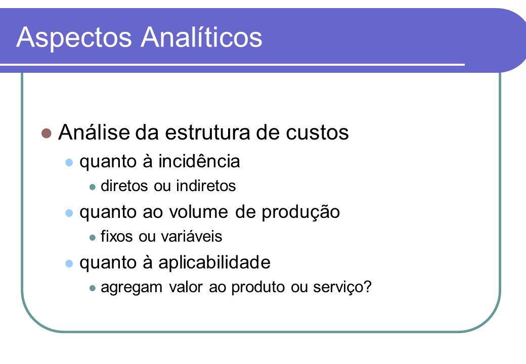 Aspectos Analíticos Análise da estrutura de custos quanto à incidência diretos ou indiretos quanto ao volume de produção fixos ou variáveis quanto à aplicabilidade agregam valor ao produto ou serviço?