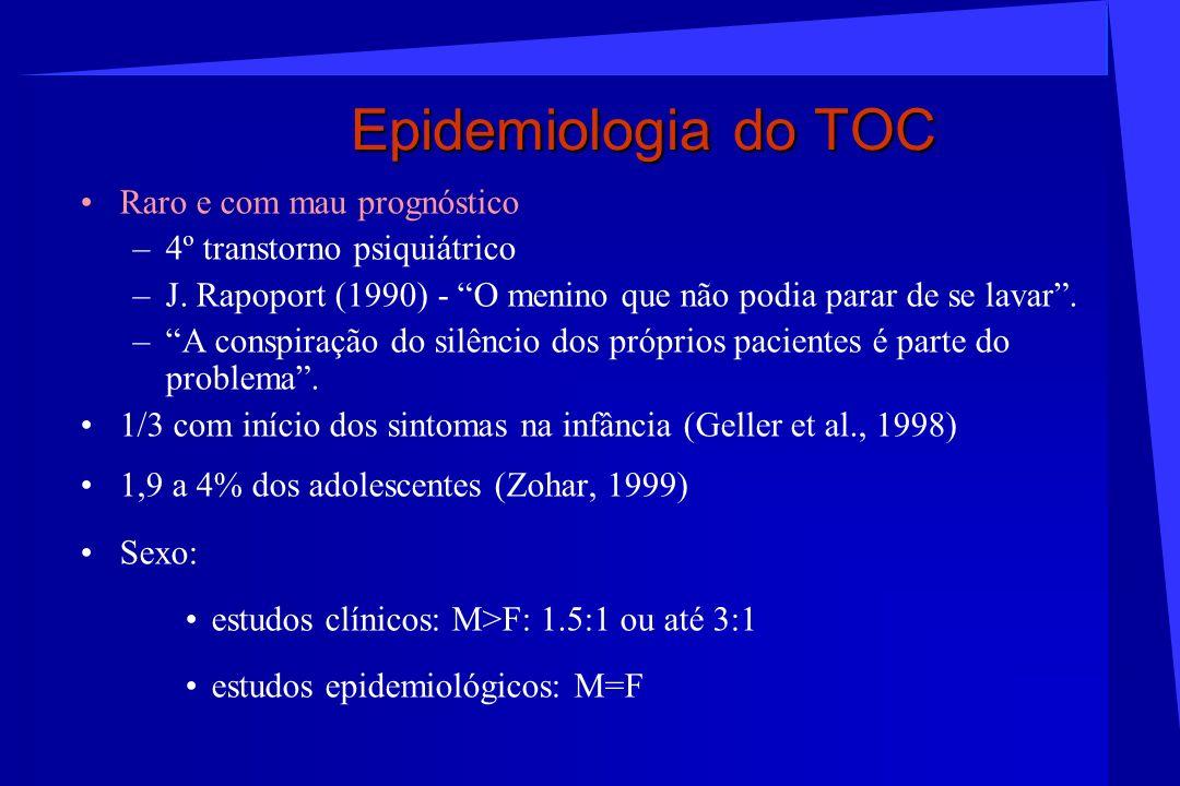 Epidemiologia do TOC Raro e com mau prognóstico –4º transtorno psiquiátrico –J. Rapoport (1990) - O menino que não podia parar de se lavar. –A conspir