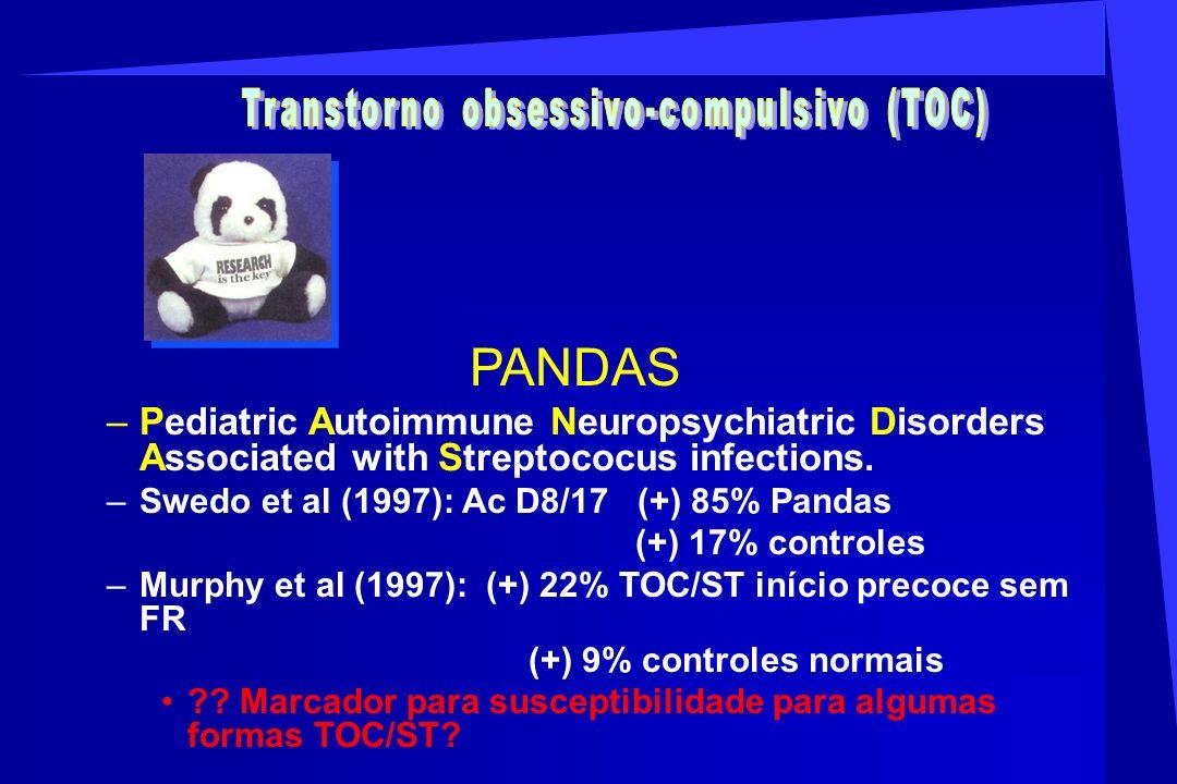 PANDAS –Pediatric Autoimmune Neuropsychiatric Disorders Associated with Streptococus infections. –Swedo et al (1997): Ac D8/17 (+) 85% Pandas (+) 17%