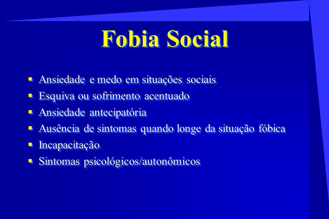 Fobia Social Ansiedade e medo em situações sociais Esquiva ou sofrimento acentuado Ansiedade antecipatória Ausência de sintomas quando longe da situaç