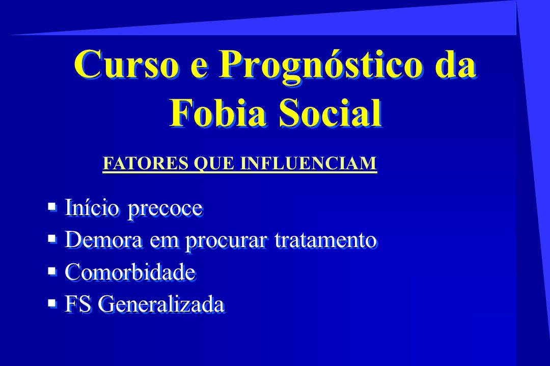 Curso e Prognóstico da Fobia Social Início precoce Demora em procurar tratamento Comorbidade FS Generalizada Início precoce Demora em procurar tratame