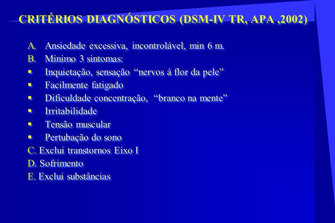 CRITÉRIOS DIAGNÓSTICOS (DSM-IV TR, APA,2002) A.Ansiedade excessiva, incontrolável, min 6 m. B.Minimo 3 sintomas: Inquietação, sensação nervos á flor d