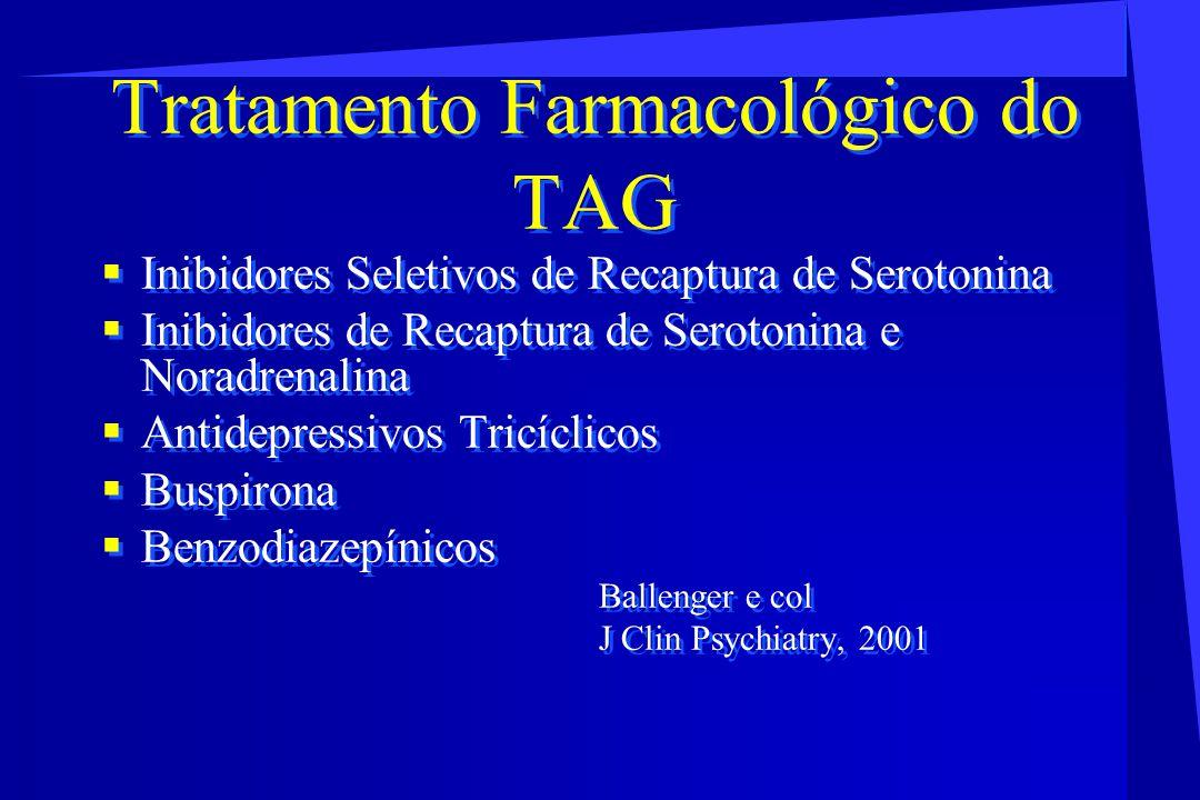 Tratamento Farmacológico do TAG Inibidores Seletivos de Recaptura de Serotonina Inibidores de Recaptura de Serotonina e Noradrenalina Antidepressivos