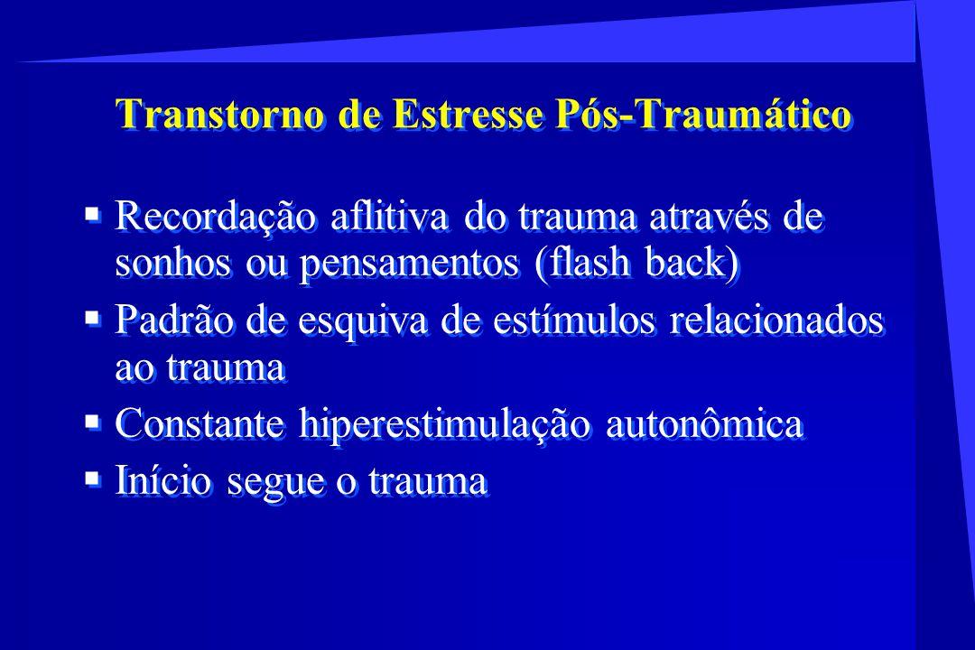Transtorno de Estresse Pós-Traumático Recordação aflitiva do trauma através de sonhos ou pensamentos (flash back) Padrão de esquiva de estímulos relac