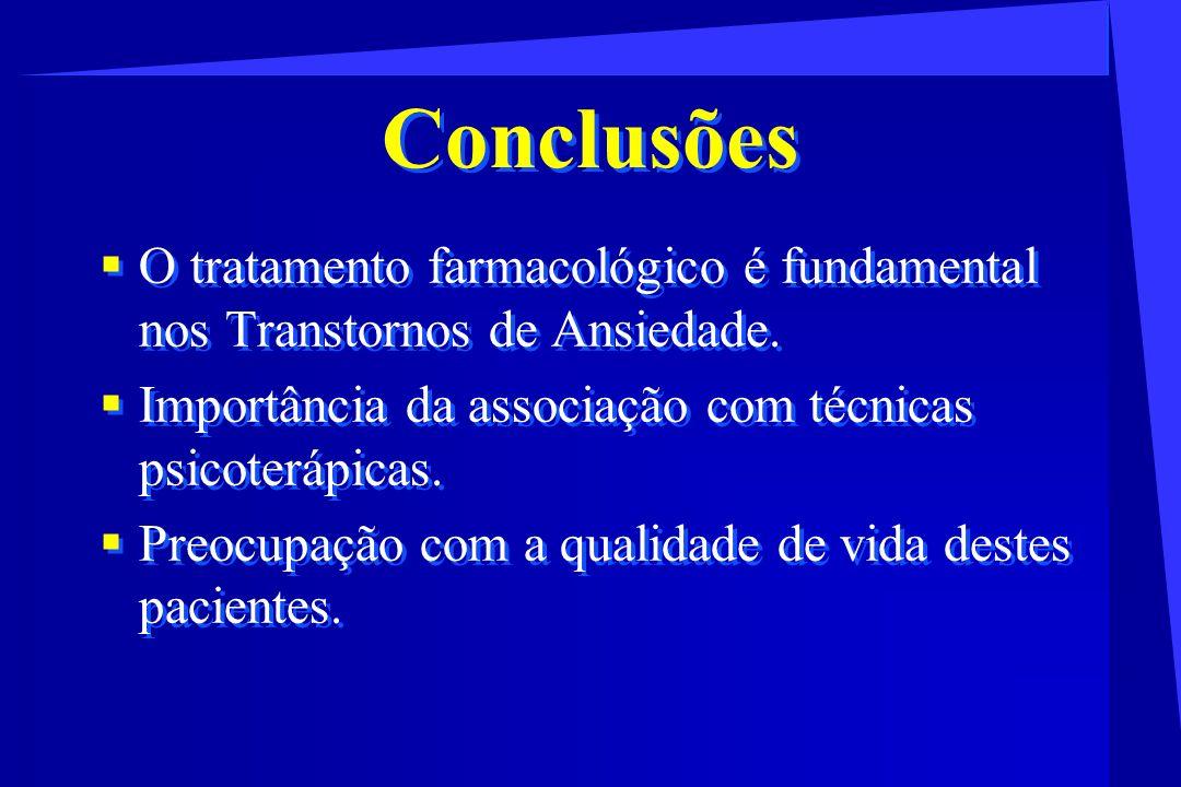 Conclusões O tratamento farmacológico é fundamental nos Transtornos de Ansiedade. Importância da associação com técnicas psicoterápicas. Preocupação c