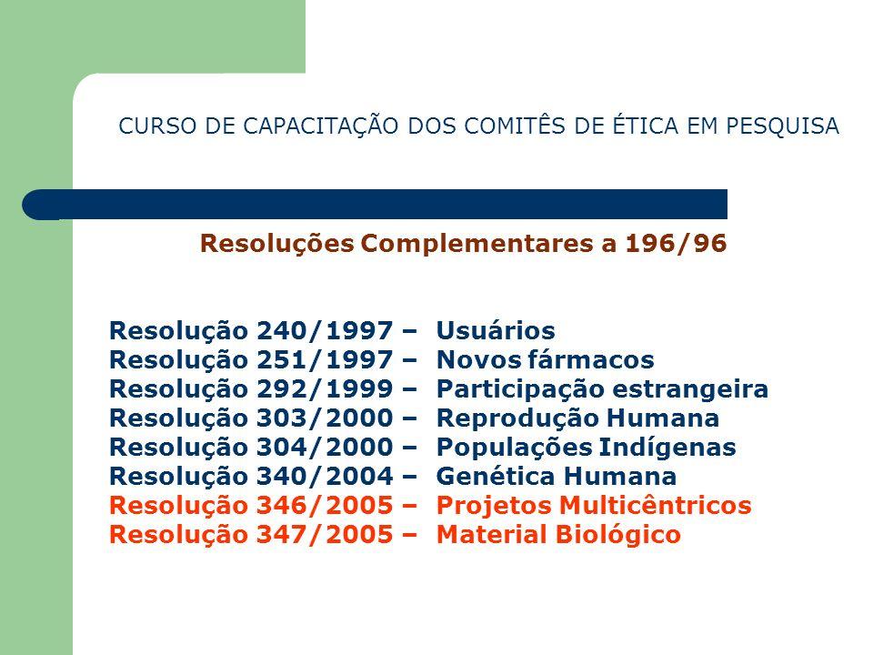 Resoluções Complementares a 196/96 Resolução 240/1997 – Usuários Resolução 251/1997 – Novos fármacos Resolução 292/1999 – Participação estrangeira Res