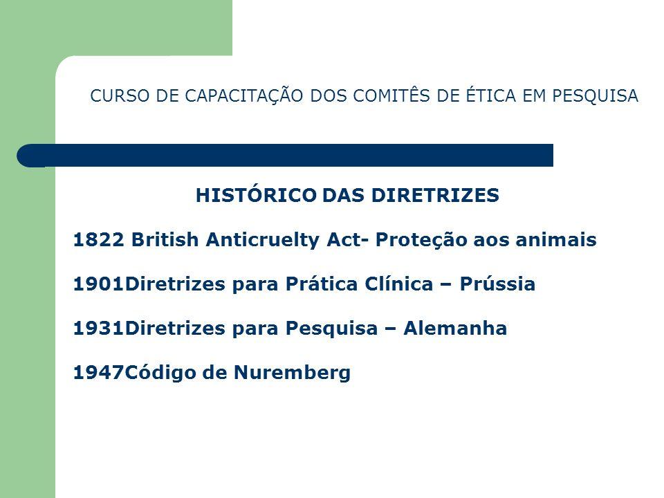 HISTÓRICO DAS DIRETRIZES 1822 British Anticruelty Act- Proteção aos animais 1901Diretrizes para Prática Clínica – Prússia 1931Diretrizes para Pesquisa