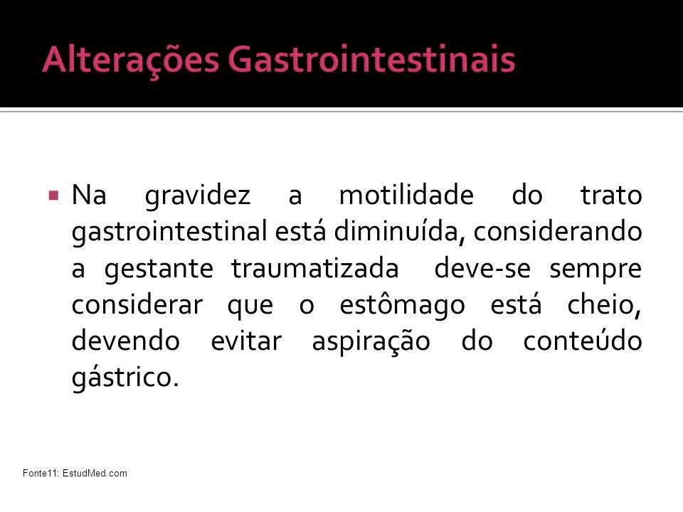 Na gravidez a motilidade do trato gastrointestinal está diminuída, considerando a gestante traumatizada deve-se sempre considerar que o estômago está
