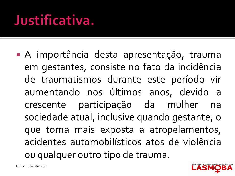 A importância desta apresentação, trauma em gestantes, consiste no fato da incidência de traumatismos durante este período vir aumentando nos últimos