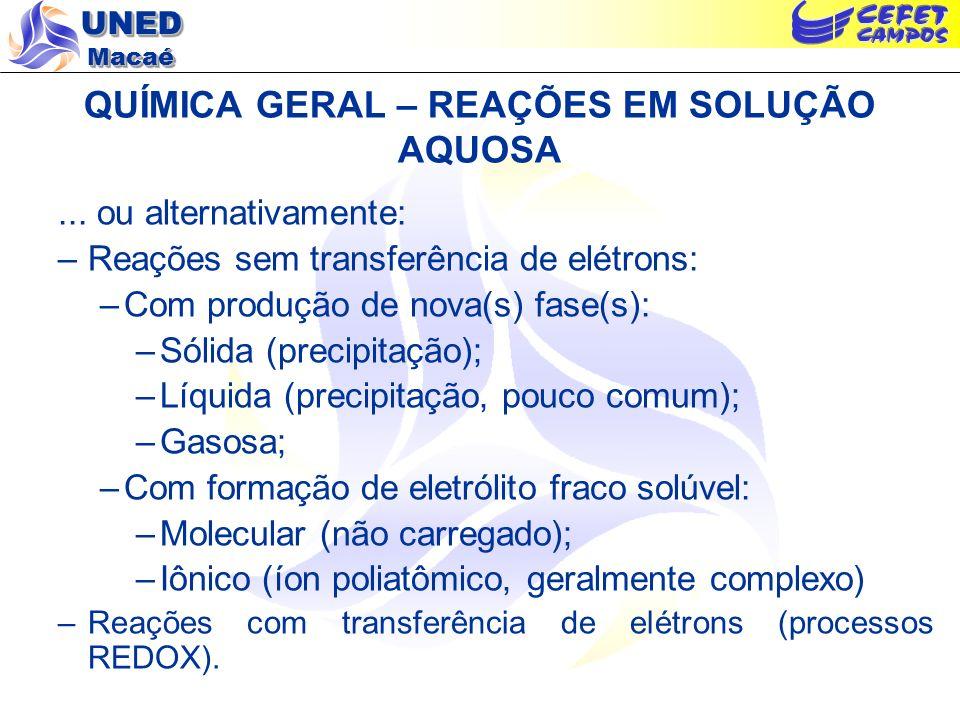 UNED Macaé QUÍMICA GERAL – REAÇÕES EM SOLUÇÃO AQUOSA... ou alternativamente: –Reações sem transferência de elétrons: –Com produção de nova(s) fase(s):