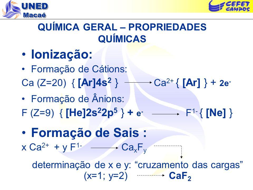 UNED Macaé QUÍMICA GERAL – PROPRIEDADES QUÍMICAS Ionização: Formação de Cátions: Ca (Z=20) { [Ar]4s 2 } Ca 2+ { [Ar] } + 2e - Formação de Ânions: F (Z