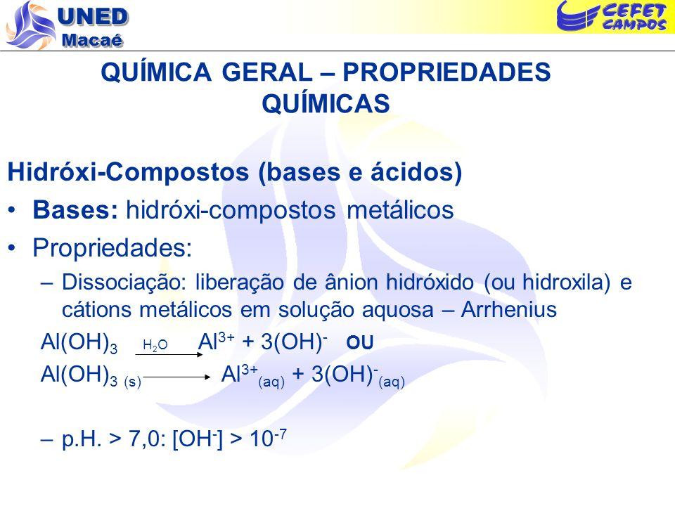 UNED Macaé QUÍMICA GERAL – PROPRIEDADES QUÍMICAS Hidróxi-Compostos (bases e ácidos) Bases: hidróxi-compostos metálicos Propriedades: –Dissociação: lib