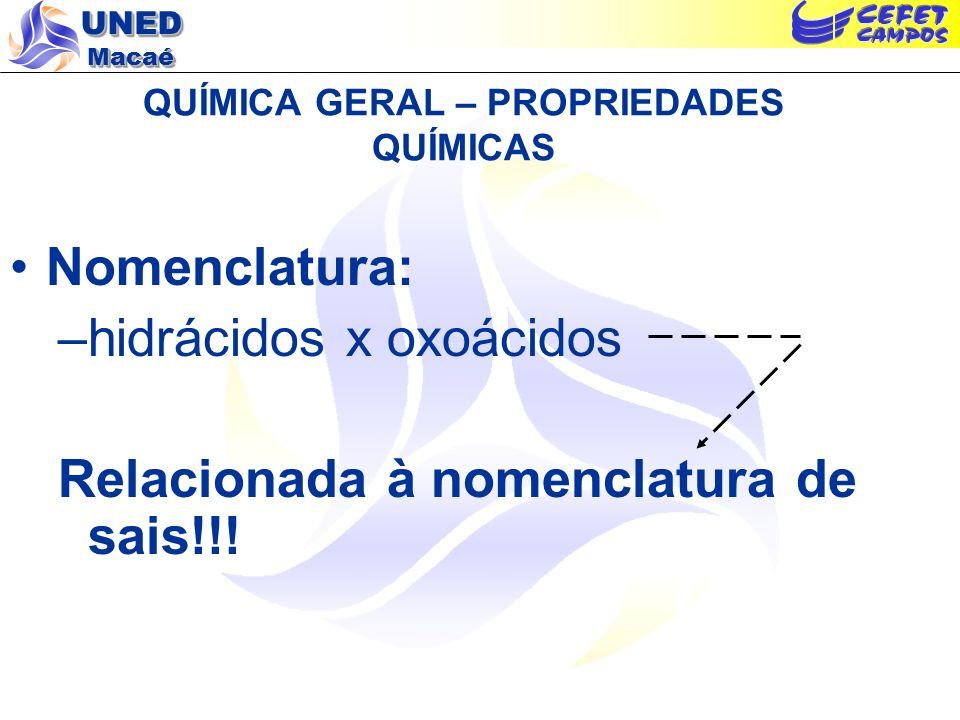 UNED Macaé QUÍMICA GERAL – PROPRIEDADES QUÍMICAS Nomenclatura: –hidrácidos x oxoácidos Relacionada à nomenclatura de sais!!!