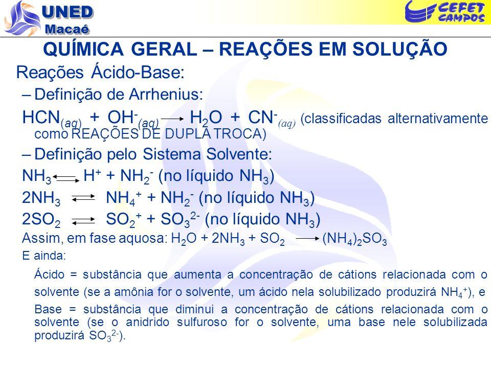 UNED Macaé QUÍMICA GERAL – REAÇÕES EM SOLUÇÃO Reações Ácido-Base: –Definição de Arrhenius: HCN (aq) + OH - (aq) H 2 O + CN - (aq) (classificadas alter