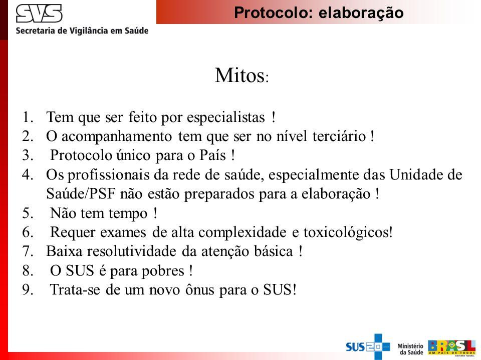 Protocolo: elaboração Mitos : 1.Tem que ser feito por especialistas ! 2.O acompanhamento tem que ser no nível terciário ! 3. Protocolo único para o Pa