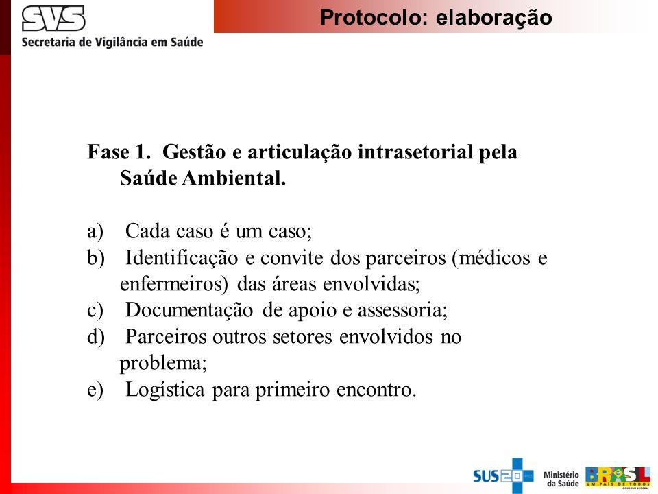 Protocolo: elaboração Fase 1. Gestão e articulação intrasetorial pela Saúde Ambiental. a) Cada caso é um caso; b) Identificação e convite dos parceiro