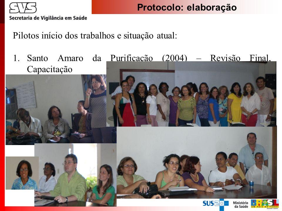 Protocolo: elaboração Pilotos início dos trabalhos e situação atual: 1.Santo Amaro da Purificação (2004) – Revisão Final, Capacitação