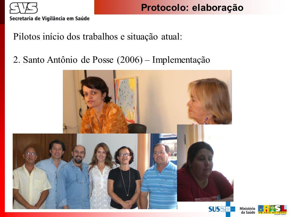 Protocolo: elaboração Pilotos início dos trabalhos e situação atual: 2. Santo Antônio de Posse (2006) – Implementação