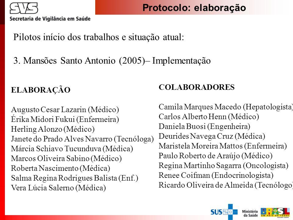 Protocolo: elaboração Pilotos início dos trabalhos e situação atual: 3. Mansões Santo Antonio (2005)– Implementação ELABORAÇÃO Augusto Cesar Lazarin (