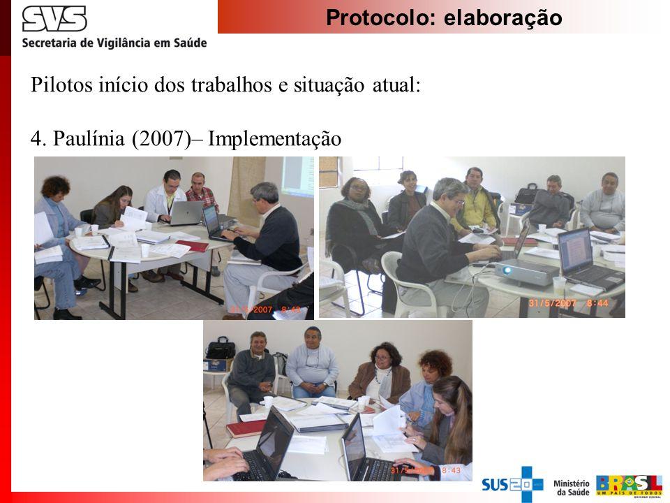 Protocolo: elaboração Pilotos início dos trabalhos e situação atual: 4. Paulínia (2007)– Implementação