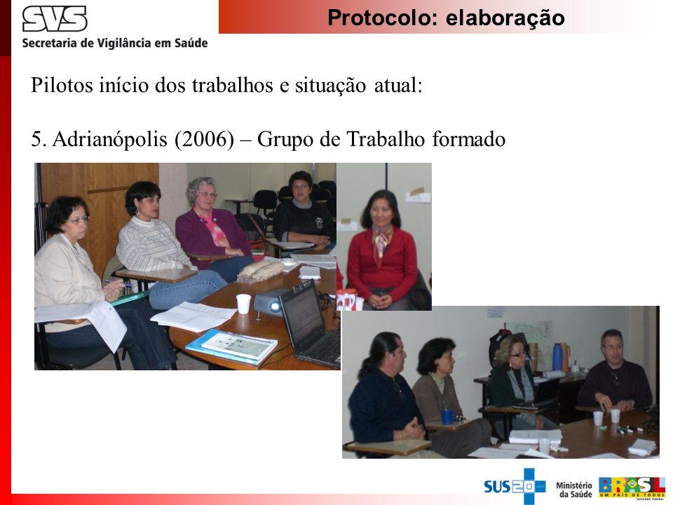 Protocolo: elaboração Pilotos início dos trabalhos e situação atual: 5. Adrianópolis (2006) – Grupo de Trabalho formado