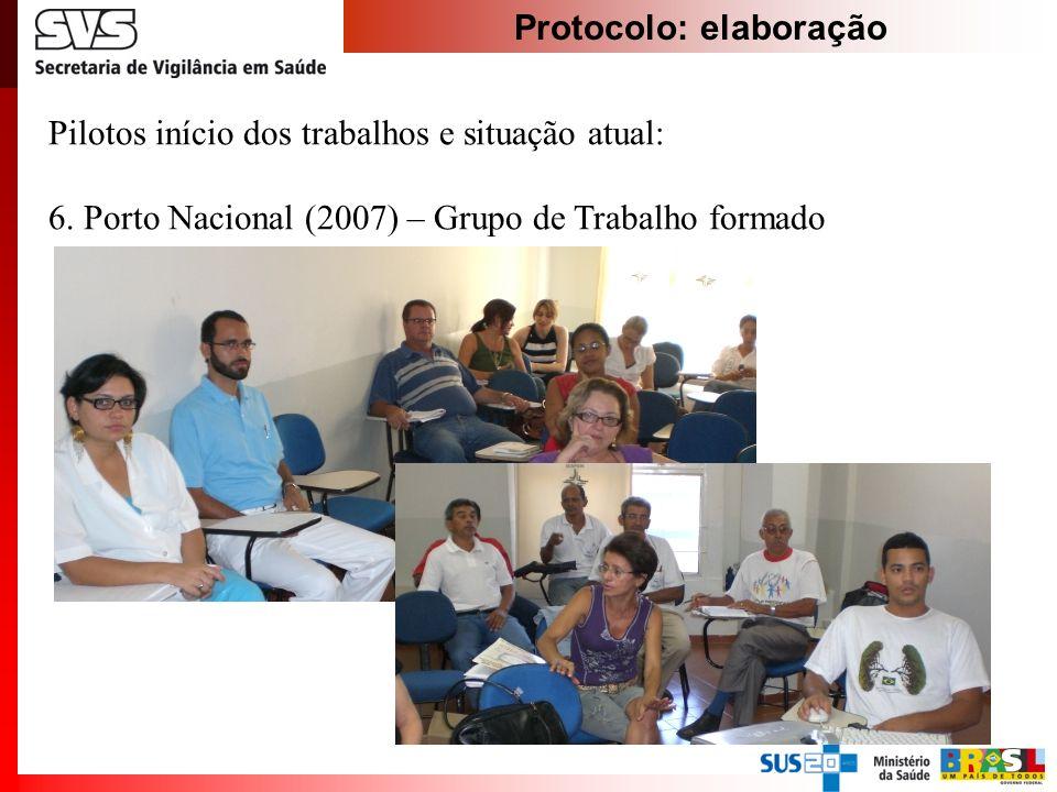 Protocolo: elaboração Pilotos início dos trabalhos e situação atual: 6. Porto Nacional (2007) – Grupo de Trabalho formado