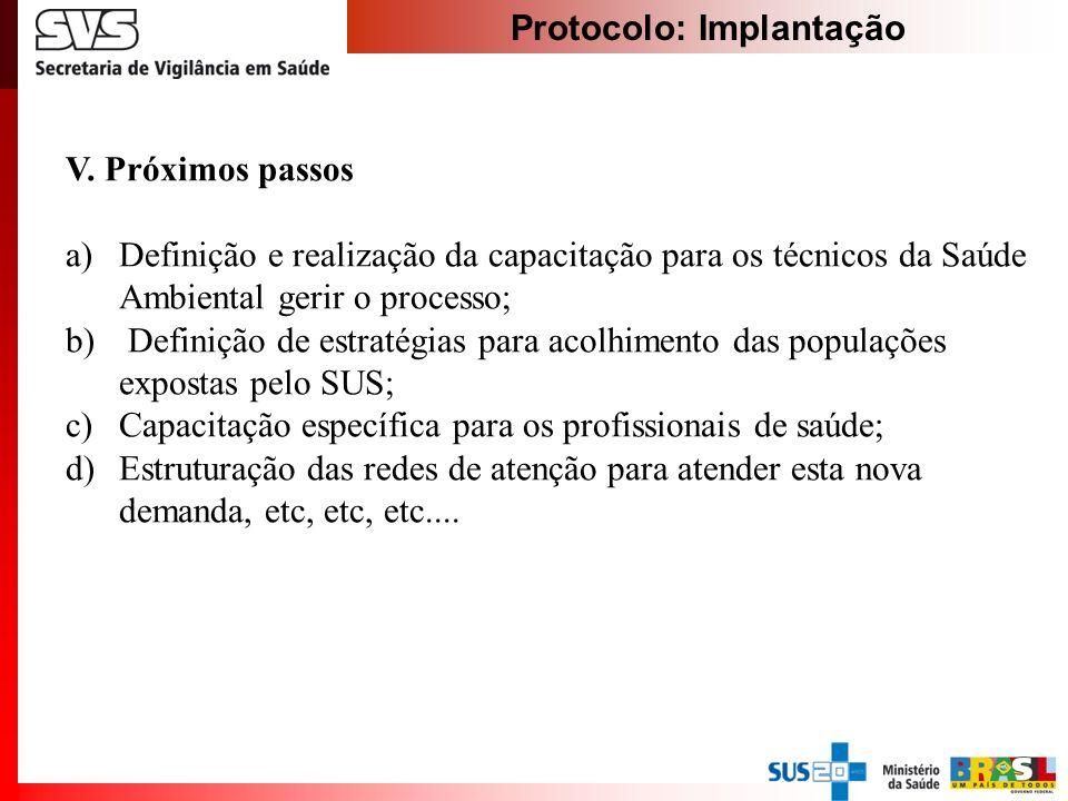Protocolo: Implantação V. Próximos passos a)Definição e realização da capacitação para os técnicos da Saúde Ambiental gerir o processo; b) Definição d