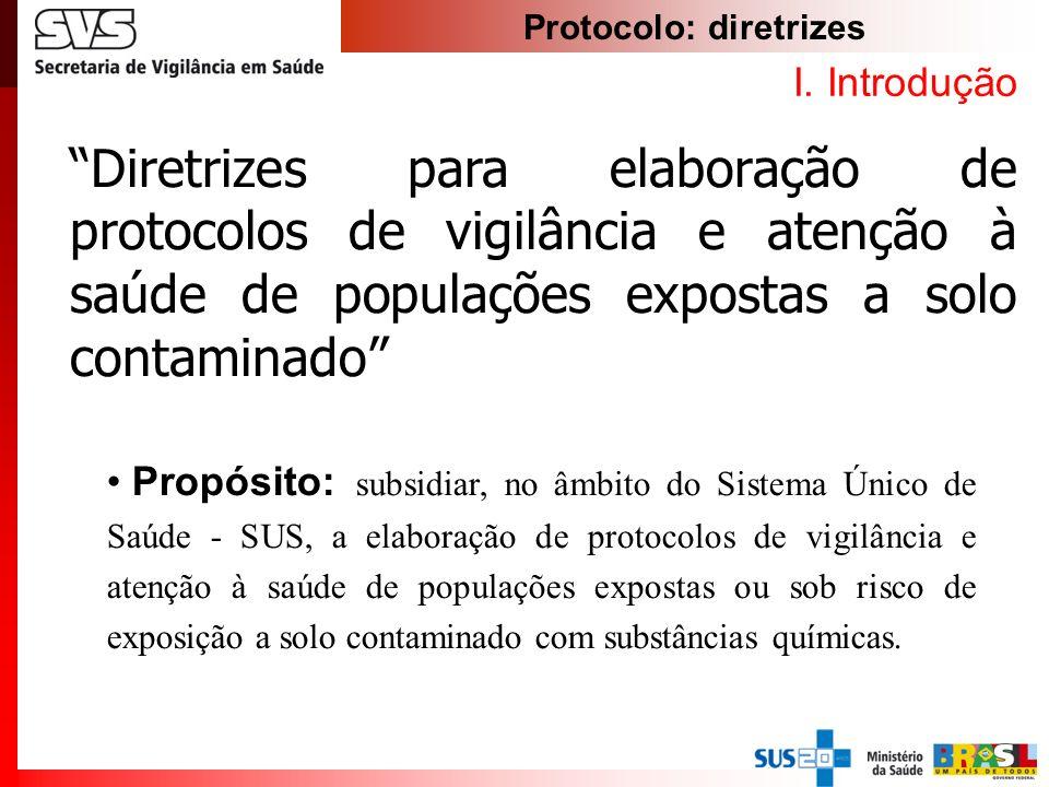 Protocolo: diretrizes I. Introdução Propósito: subsidiar, no âmbito do Sistema Único de Saúde - SUS, a elaboração de protocolos de vigilância e atençã