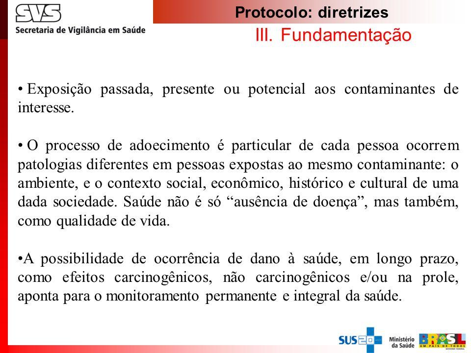 Protocolo: diretrizes III. Fundamentação Exposição passada, presente ou potencial aos contaminantes de interesse. O processo de adoecimento é particul