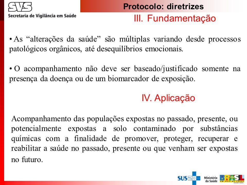 Protocolo: diretrizes III. Fundamentação As alterações da saúde são múltiplas variando desde processos patológicos orgânicos, até desequilíbrios emoci