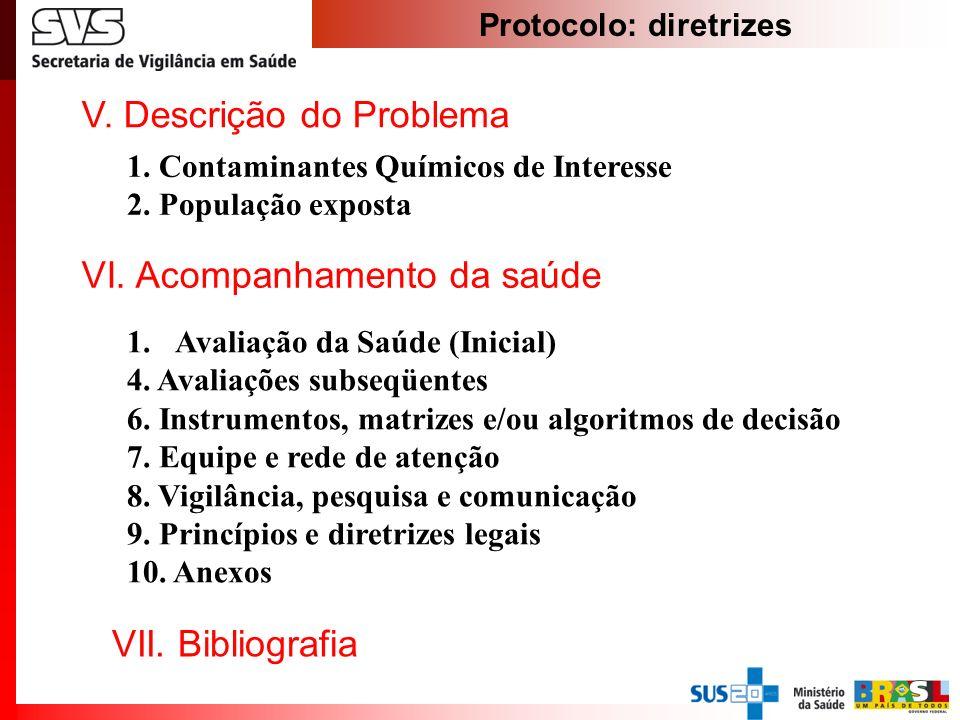 Protocolo: diretrizes VI. Acompanhamento da saúde 1.Avaliação da Saúde (Inicial) 4. Avaliações subseqüentes 6. Instrumentos, matrizes e/ou algoritmos