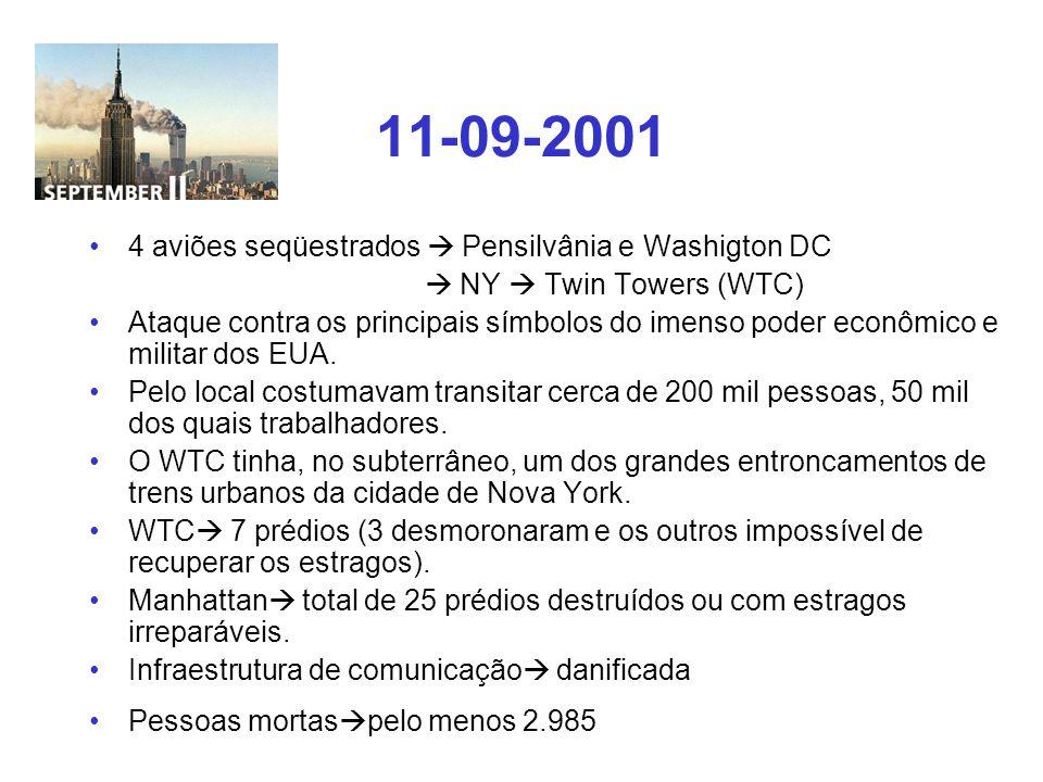 11-09-2001 4 aviões seqüestrados Pensilvânia e Washigton DC NY Twin Towers (WTC) Ataque contra os principais símbolos do imenso poder econômico e mili
