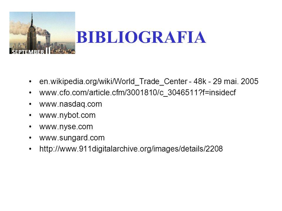 BIBLIOGRAFIA en.wikipedia.org/wiki/World_Trade_Center - 48k - 29 mai. 2005 www.cfo.com/article.cfm/3001810/c_3046511?f=insidecf www.nasdaq.com www.nyb
