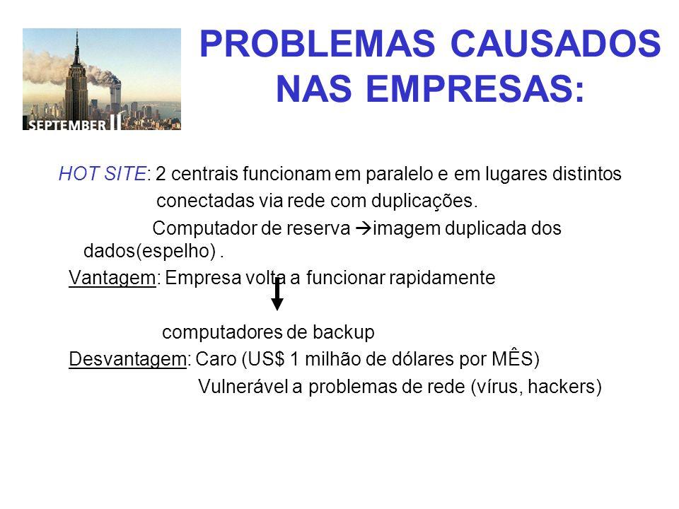 PROBLEMAS CAUSADOS NAS EMPRESAS: HOT SITE: 2 centrais funcionam em paralelo e em lugares distintos conectadas via rede com duplicações. Computador de