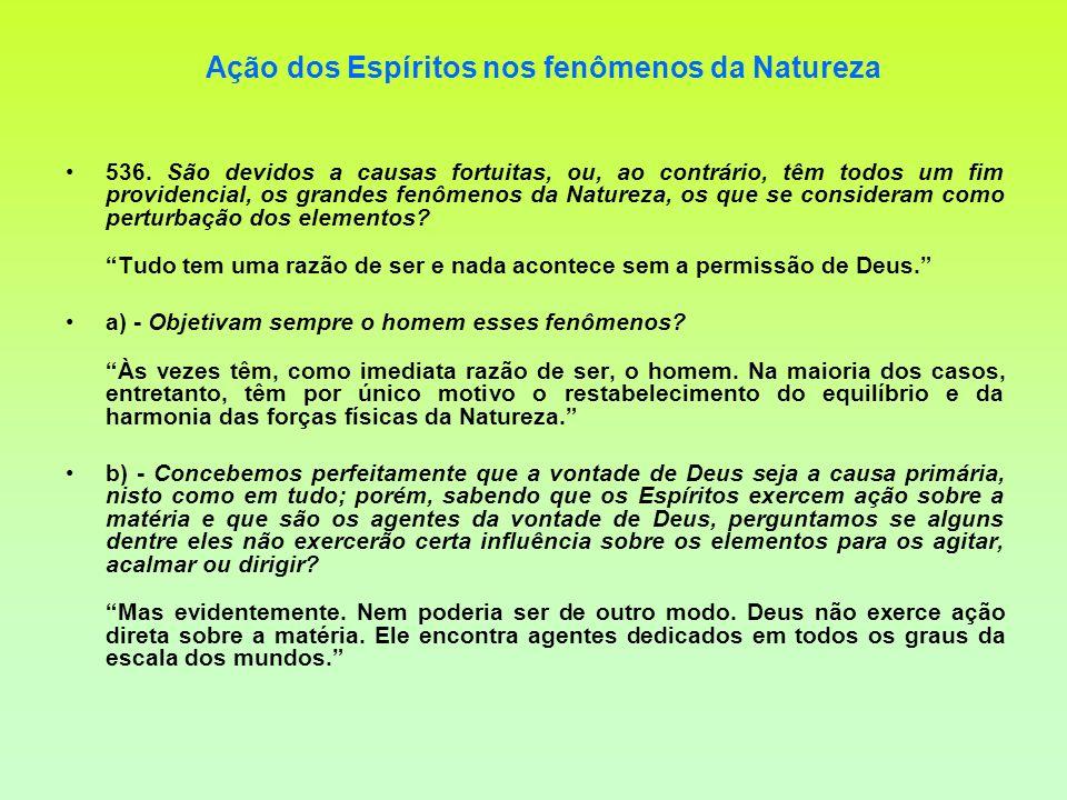 Ação dos Espíritos nos fenômenos da Natureza 536. São devidos a causas fortuitas, ou, ao contrário, têm todos um fim providencial, os grandes fenômeno